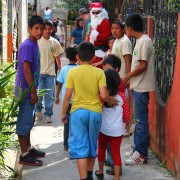 Children were ushered to a nearby house by the boys within Engadi's Derek Program where they were allowed to pick out a toy for Christmas. Santa even made an appearance!