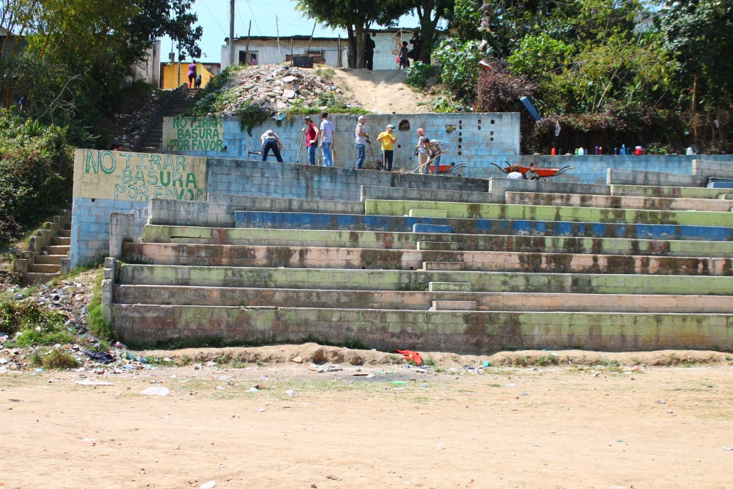 The playground site is strategically located at the top of the soccer stadium in Paraíso, only about a block from four local elementary schools.